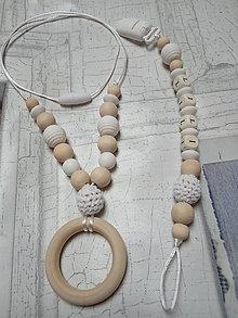 Detské doplnky - Set náhrdelník a šnúrka na cumlík - 10323782_