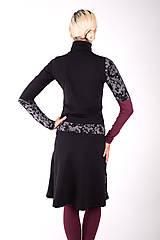 Šaty - PLACE DU CARROUSEL... mix dress / změna materiálu - 10321401_