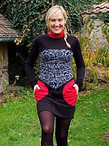 Šaty - PLACE DU CARROUSEL... mix dress / změna materiálu - 10321402_