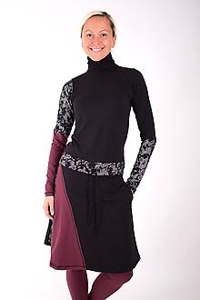 Šaty - PLACE DU CARROUSEL... mix dress / změna materiálu - 10321389_