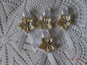 Pierka - Veĺké pierko biela a zlatá - 10323394_