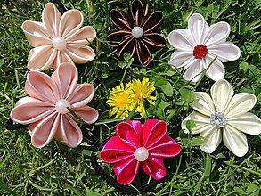 Ozdoby do vlasov - Gumičky s kanzashi kvetmi. - 10323844_