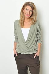 Svetre/Pulóvre - Olivový pulover, vel. S/M - 10321008_