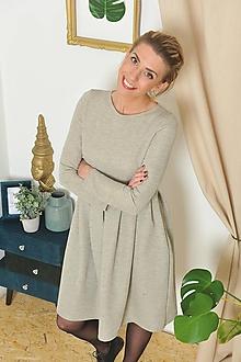 Šaty - Teplákové šaty NELA šedé se zlatou nitkou, vel. S/M - 10321137_