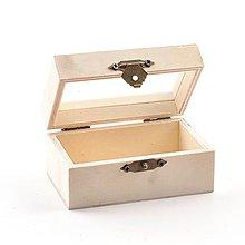 Polotovary - Drevená krabička mini, so sklom, 9x5,5 cm - 10325807_