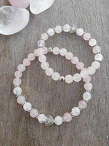 Náramky - Set náramkov pre mamičky a dcérky z ruženínu a praskaného krištáľu - 10327015_