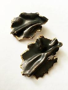 Náušnice - so zlatým okrajom/keramika/ - 10327157_