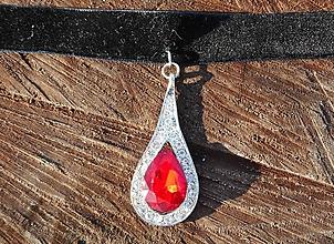 Náhrdelníky - chocer neklace with red tear - 10327127_