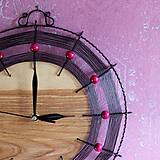 Hodiny - Hodiny dřevo a drát v růžové - 10327131_