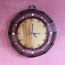 Hodiny - Hodiny dřevo a drát - 10327096_