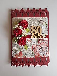 Papiernictvo - gratulačná pohľadnica k jubileu 80 rokov pre ženu - 10325607_