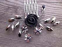 Ozdoby do vlasov - hrebienok - čierna ruža - strieborný - 10325054_
