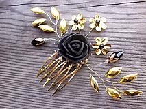 Ozdoby do vlasov - hrebienok - čierna ruža - zlatý - 10325953_
