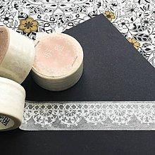 Papier - dekoračná papierová páska Biely ornament - 10325100_