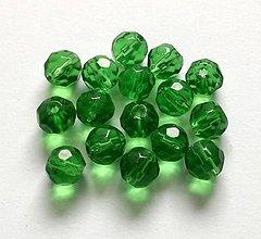 Korálky - Sklenené brúsené korálky 6 mm - 10 ks (zelená) - 10327164_