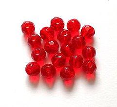 Korálky - Sklenené brúsené korálky 6 mm - 10 ks (červená) - 10327169_