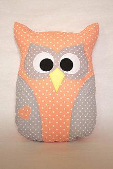 Úžitkový textil - Vankúš sova veľká (Ružová) - 10326144_