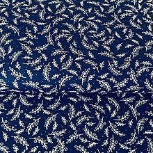 Textil - modrotlačové lístky, 100 % bavlna, šírka 140 cm - 10325108_