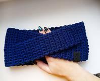 Čiapky - Kráľovská modrá čelenka - 10325296_