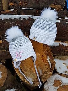 Detské čiapky - Čiapky SNEHUĽKA (mama + dcéra) - 10326240_