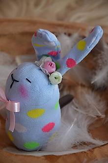 Dekorácie - Zajačiky ponožkové  (Modrá) - 10326202_