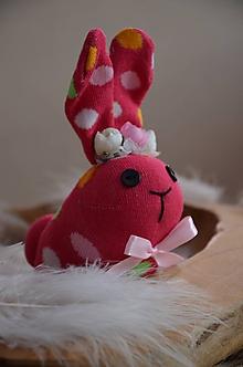 Dekorácie - Zajačiky ponožkové  (Ružová) - 10326207_