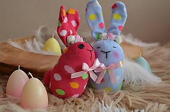 Dekorácie - Zajačiky ponožkové - 10326221_