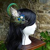 Ozdoby do vlasov - Fascinátor z pávích pier - 10327837_