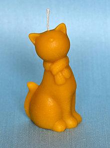 Svietidlá a sviečky - Sviečky z včelieho vosku (Mačička) - 10325719_