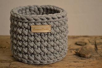 Košíky - Háčkovaný košík #Malý šedý - 10325105_
