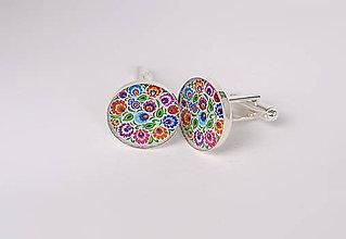 Šperky - manžetové gombíky ľudové kvetinové - 10324829_