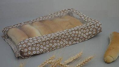 Úžitkový textil - Vrecúško na chlieb a pečivo - biele kvietky na krémovom podklade - 10327748_