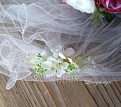 Ozdoby do vlasov - svadobný hrebienok..biely - 10325645_