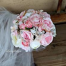 Kytice pre nevestu - svadobná kytica...ružová - 10327221_
