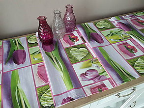 Úžitkový textil - Jarný set  (Stredový obrus tulipán 136*40 cm) - 10331346_