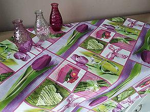 Úžitkový textil - Jarný set  (obrus  tulipán 87*87 cm) - 10331443_