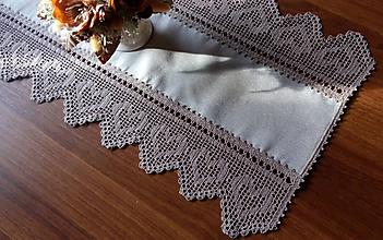 Úžitkový textil - *** Srdiečkový - stredový obrus - béžový  *** - 10330452_