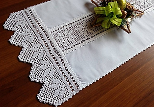Úžitkový textil - ***  štôla  - biele  hviezdy *** - 10330491_