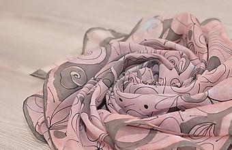 Šatky - Kvietkovaná - maľovaná hodvábna šatka. - 10330770_