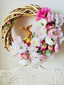 """Dekorácie - Jarný veniec """"v zajkovej záhrade"""" - veniec na dvere - 10329972_"""