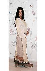 Sukne - lel, maxi hrubá vlnená sukňa patchwork - 10328855_