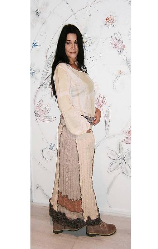 lel, maxi hrubá vlnená sukňa patchwork