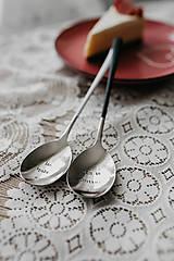 Pomôcky - Sada strieborných lyžíc biela a čierna - 10328331_