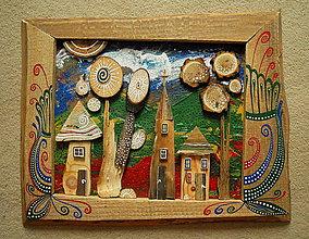 Obrazy - Farebná drevená krajina - 10331738_