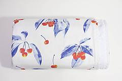 Textil - Akvarelová, detská prikrývka - ČEREŠNE - 10331212_