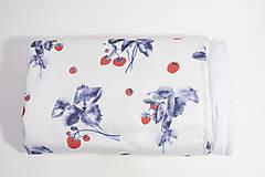 Textil - Akvarelová, detská prikrývka - JAHODY - 10331518_