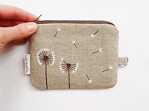 Peňaženky - Peňaženka/dokladovka - Púpavky (natur 100% ľan) - 10329698_