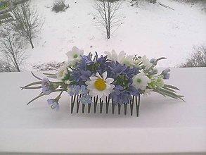 Ozdoby do vlasov - Kvetinový hrebienok do vlasov z lúčnych kvietkov... v rozkvitnutom poli ... - 10329456_