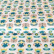 Textil - retro kvietky, 100 % bavlna Francúzsko, šírka 150 cm - 10328287_