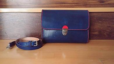 Kabelky - Kožená kabelka Modrá - 10331630_
